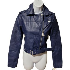 Collection B Juniors Faux Leather Moto Jacket